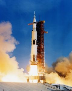 The massive Saturn V lifts off from Cape Caneveral